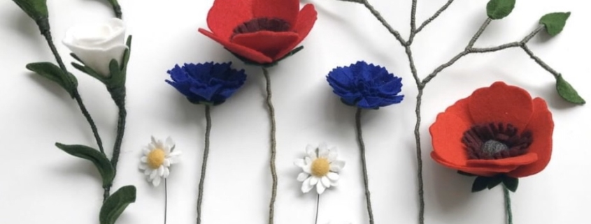 rouwbloemen van vilt